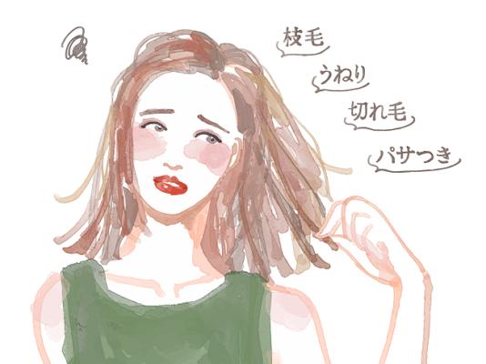 パサパサ髪の女
