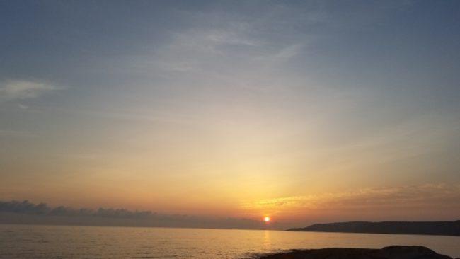 アオリイカ釣り場の夕日